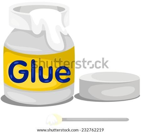 illustration of isolated glue bottle on white  - stock vector
