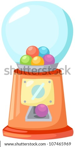 illustration of isolated gumball machine on white - stock vector