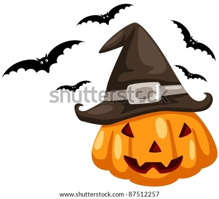 illustration of isolated halloween pumpkin with bat on white - stock vector