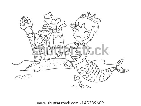 illustration of isolated hand drawn little mermaid & her sandy castles vector - stock vector