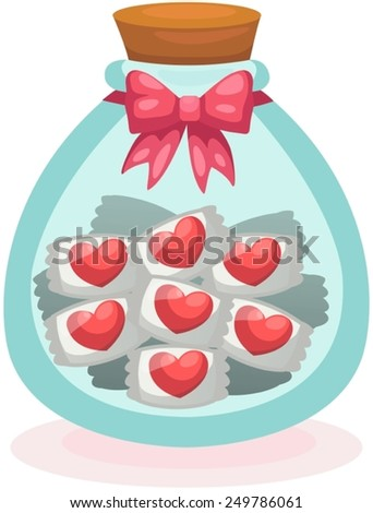 illustration of isolated  heart candies in the cute bottle - stock vector