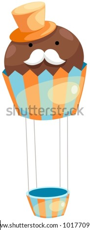 illustration of isolated hot air balloon cupcake on white - stock vector