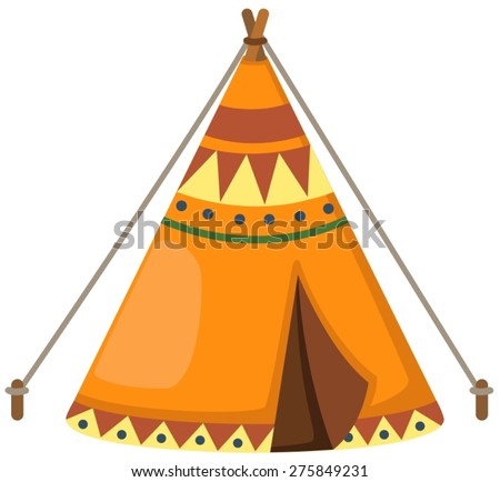 illustration of isolated indian wigwam on white