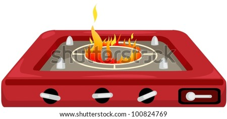 illustration of isolated kitchen stove on white background - stock vector