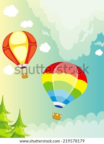 illustration of isolated landscape hot air balloon on sky