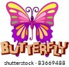 illustration of isolated letter of butterfly on white background - stock vector