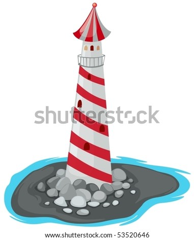 illustration of isolated lighthouse on white background - stock vector
