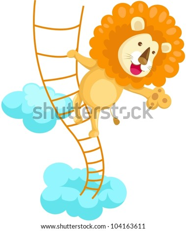 illustration of isolated lion climbing rope ladder