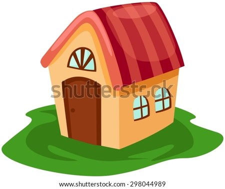 illustration of isolated little cute house on white - stock vector
