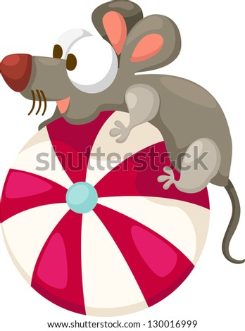 illustration of isolated mouse with ball on white background - stock vector