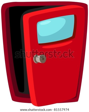 illustration of isolated opened door on white background - stock vector