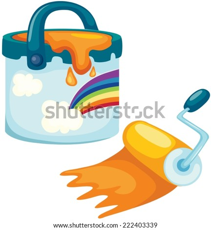 illustration of isolated paint bucket with rolling brush - stock vector