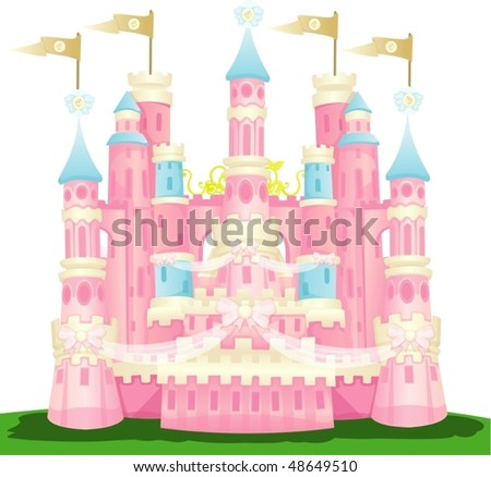 illustration of isolated pink castle on white background - stock vector