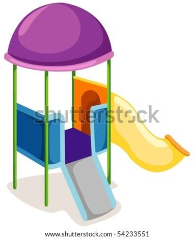 illustration of isolated playground slide on white background - stock vector