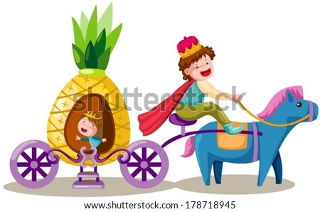 illustration of isolated prince driving pineapple carriage  - stock vector