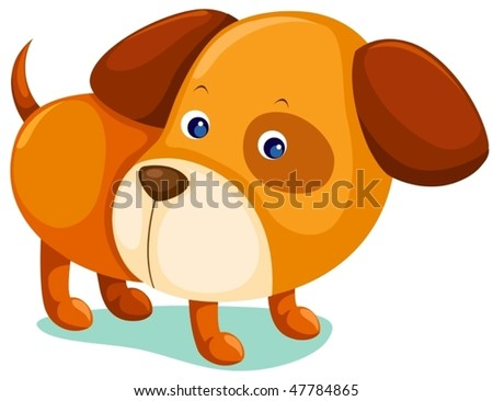 illustration of isolated puppy dog on white background - stock vector