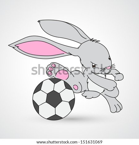 illustration of isolated rabbit playing football vector - stock vector