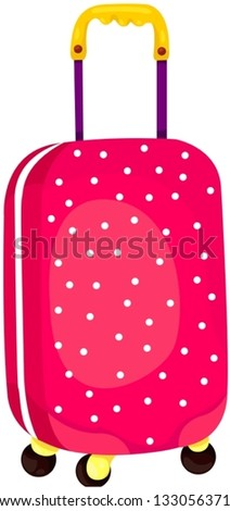 illustration of isolated rolling luggage on white background - stock vector