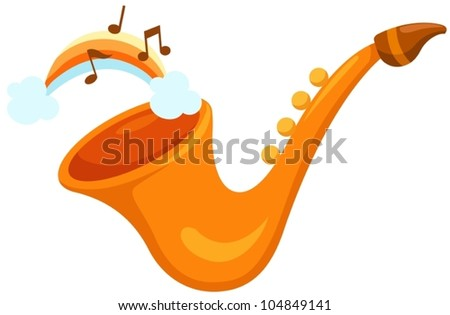 illustration of isolated  saxophone  with rainbow on white - stock vector