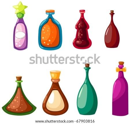 illustration of isolated set of bottles on white background - stock vector