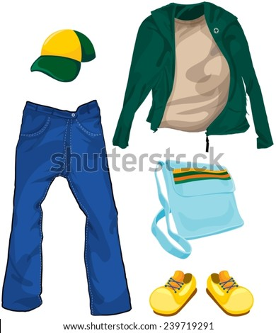 illustration of isolated set of boy casual clothes - stock vector