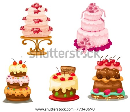 illustration of isolated set of cake on white background - stock vector