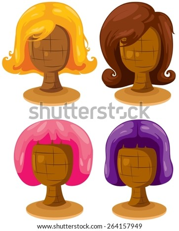illustration of isolated set of colorful woman wigs - stock vector