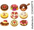 illustration of isolated set of donuts on white - stock vector