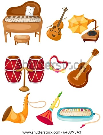 illustration of isolated set of instrument on white background - stock vector