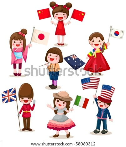 illustration of isolated set of international childrens holding flag - stock vector