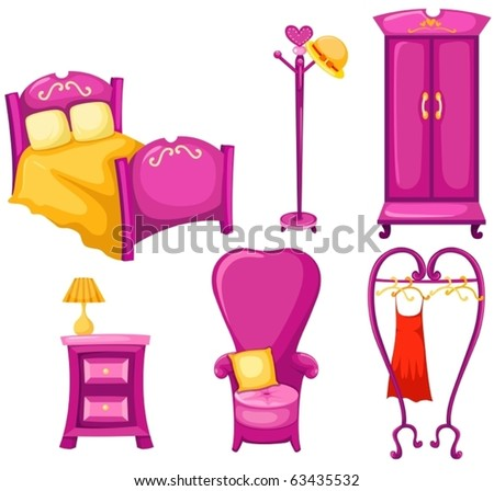 illustration of isolated set of pink furniture on white background - stock vector