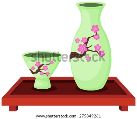 illustration of isolated set of sake bottle with small cup  - stock vector