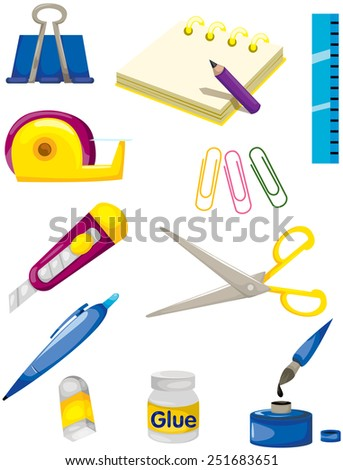 illustration of isolated set of stationery on white  - stock vector