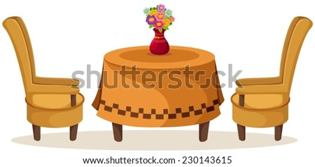 illustration of isolated set of table and chairs with flowers - stock vector