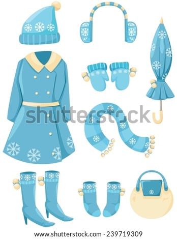 illustration of isolated set of winter clothing - stock vector