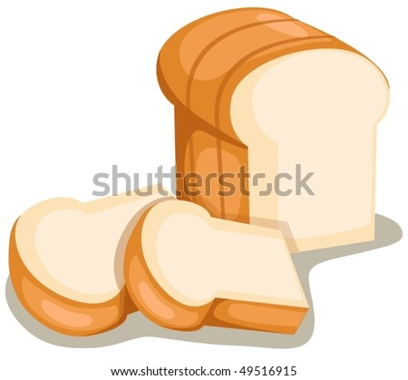 illustration of isolated sliced bread on white background - stock vector