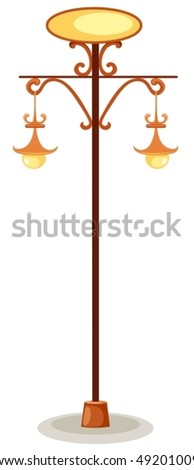 illustration of isolated street lamp iron sign on white background - stock vector
