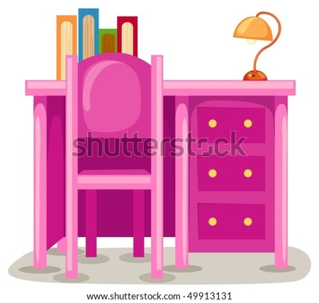 illustration of isolated study table with chair on white - stock vector