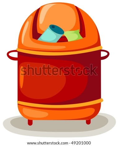 illustration of isolated trash bin on white background - stock vector