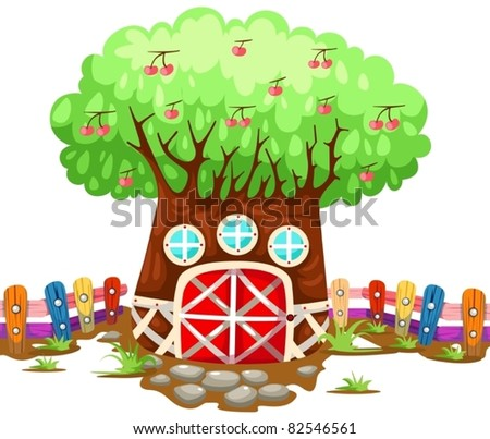 illustration of isolated treehouse on white background - stock vector