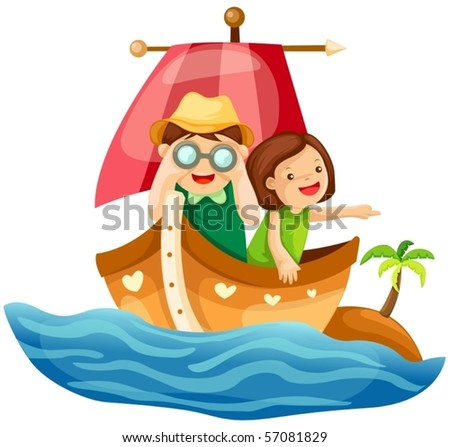 illustration of isolated two kids sailing in the sea on white - stock vector