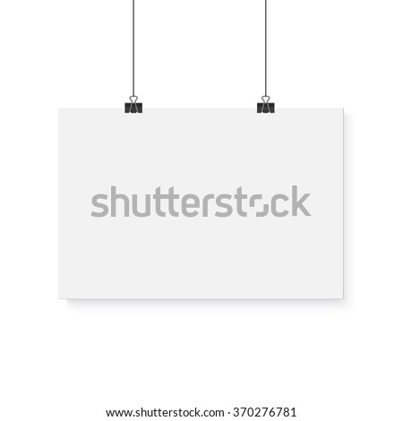 Illustration of Isolated Vector Poster Mockup. Realistic Vector EPS10 Paper Horisontal Poster Isolated on White Background - stock vector