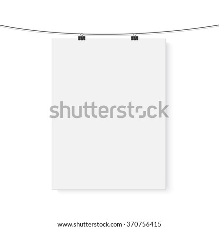 Illustration of Isolated Vector Poster Mockup. Realistic Vector EPS10 Paper Vertical Poster on a Bended Rope Isolated on White Background - stock vector