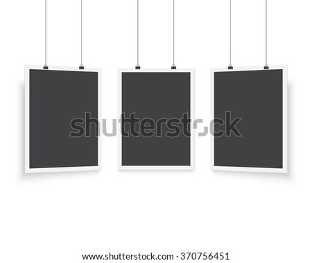 Illustration of Isolated Vector Poster Mockup Set. Realistic Vector EPS10 Paper Black Poster Set in White Frame Isolated on White Background - stock vector