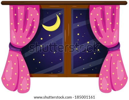 illustration of isolated window with curtain on white  - stock vector