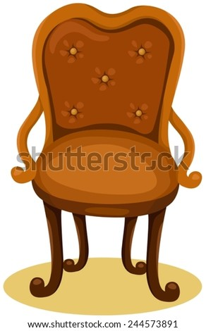 illustration of isolated wood chair on white  - stock vector