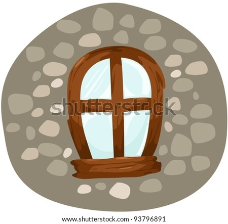 illustration of isolated wooden window on white background