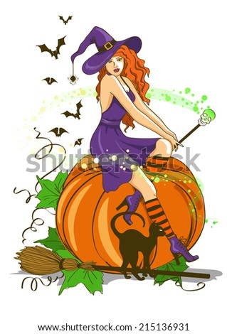 Illustration of isolated young beautiful witch sitting on the pumpkin and holding magic wand - stock vector