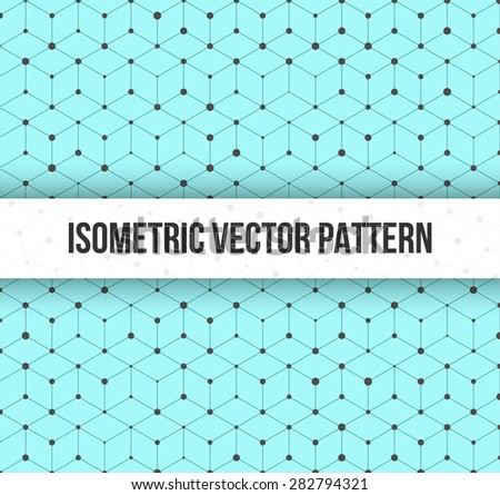 Illustration of Isomertic Cube Geometric Lines Pattern with Random Dots Circles - stock vector