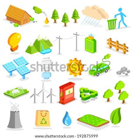 illustration of isometric environment icon - stock vector